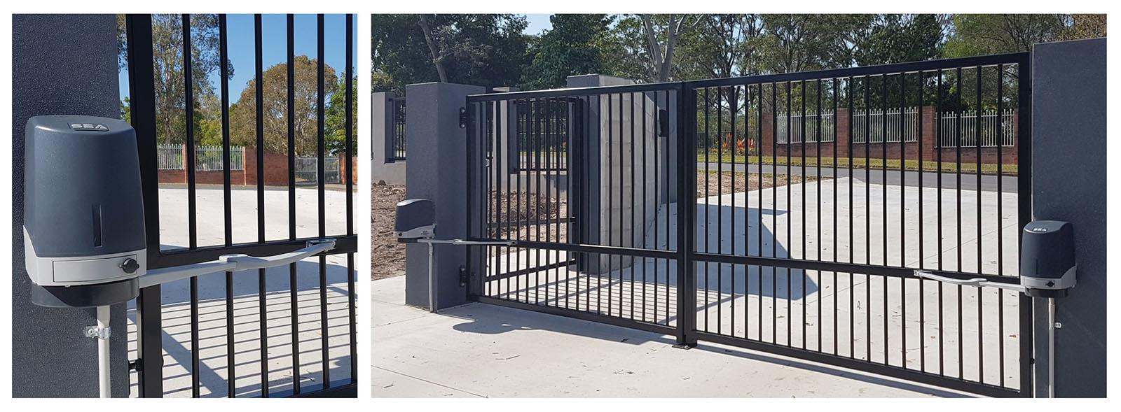 Привод распашных ворот SEA Flipper установлен на ворота