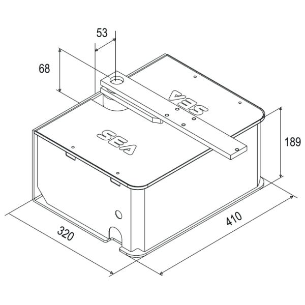 Гидравлический подземный привод распашных ворот SEA Compact 800 24V. Размеры
