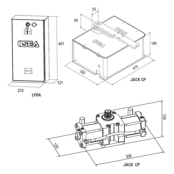 Гидравлический подземный привод распашных ворот SEA Lyra Jack 800 - Jack 800 CP. Размеры