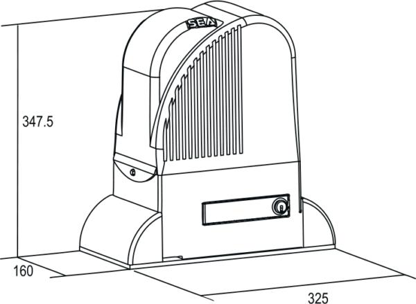 Чертёж привода в масляной ванне для откатных ворот Lepus 600/1600/2000