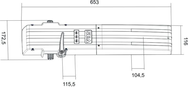 Чертёж привода для навесных ворот SEA Erg