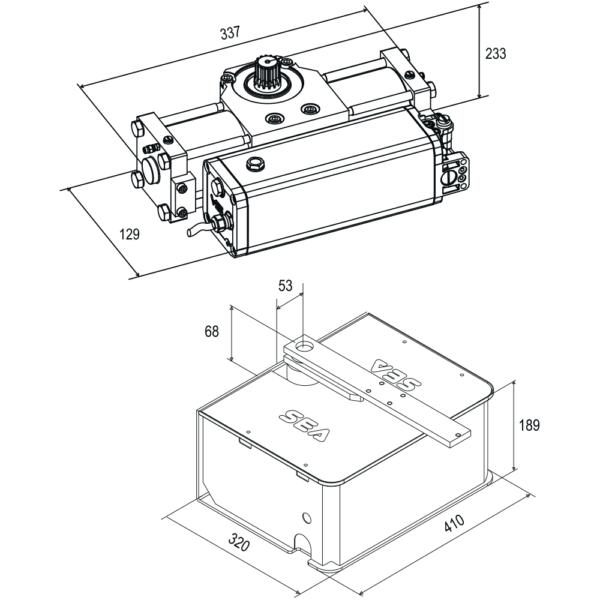 Усиленный гидравлический подземный привод SEA Super Compact. Размеры