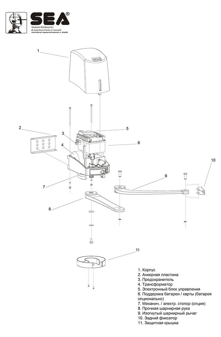 Устройство рычажного привода распашных ворот