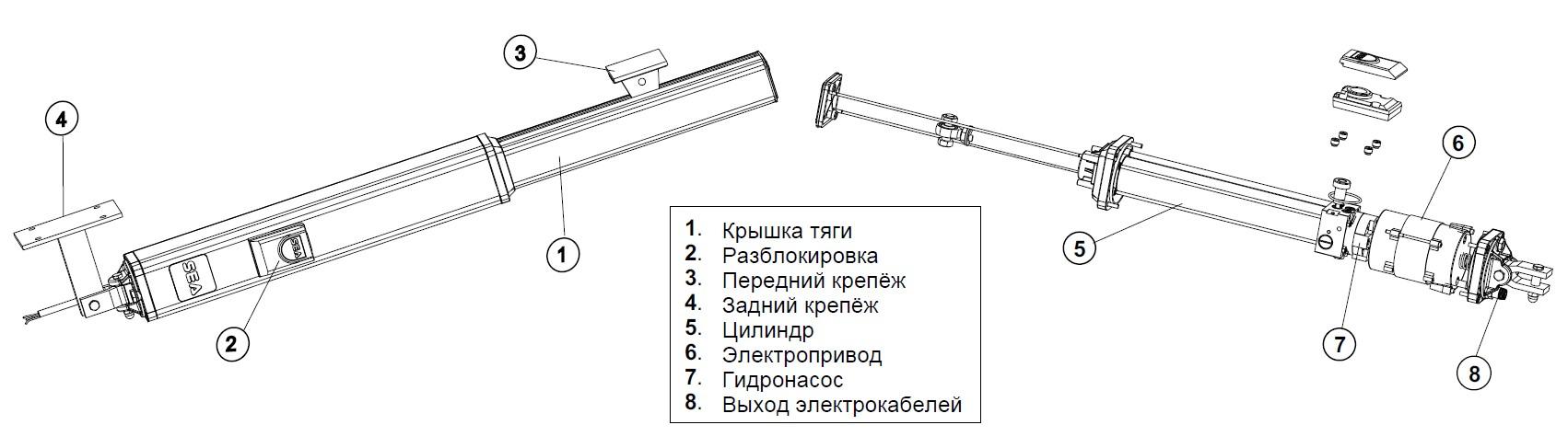 Устройство линейного привода распашных ворот